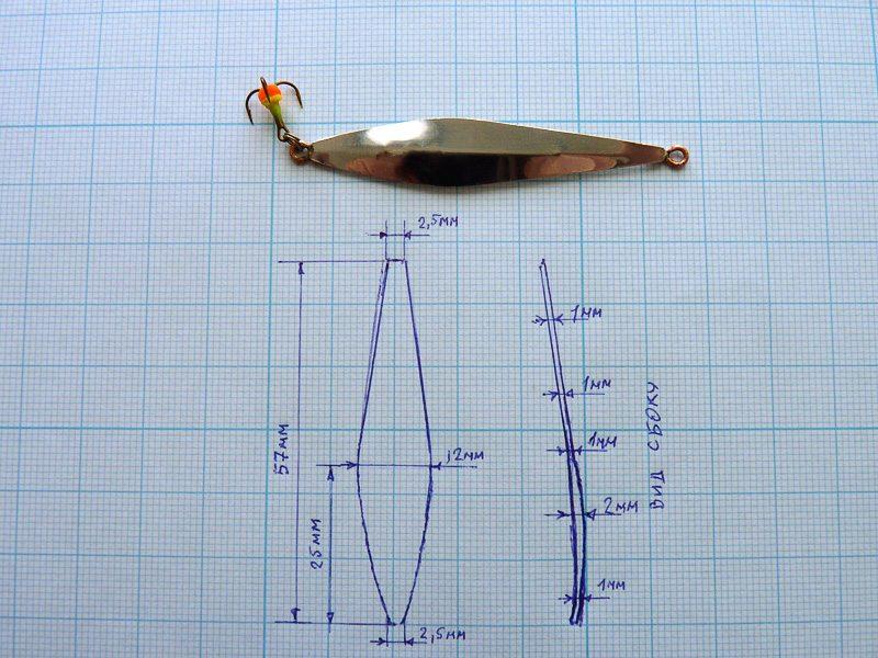 Блесна гвоздик на окуня, зимняя рыбалка, чертежи конструкции
