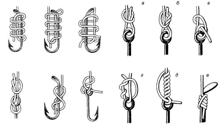 Привязывание крючка к леске