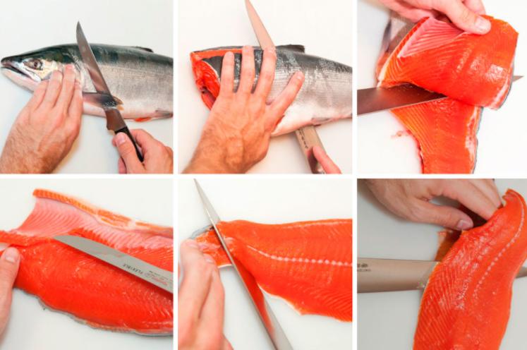 Процесс разделки красной рыбы